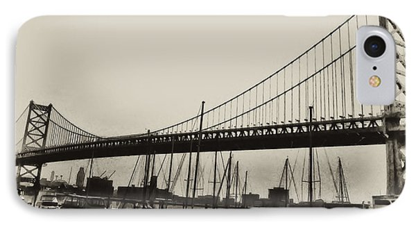 Ben Franklin Bridge From The Marina In Black And White. Phone Case by Bill Cannon