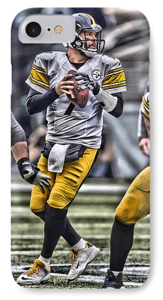 Ben Roethlisberger Pittsburgh Steelers Art Phone Case by Joe Hamilton
