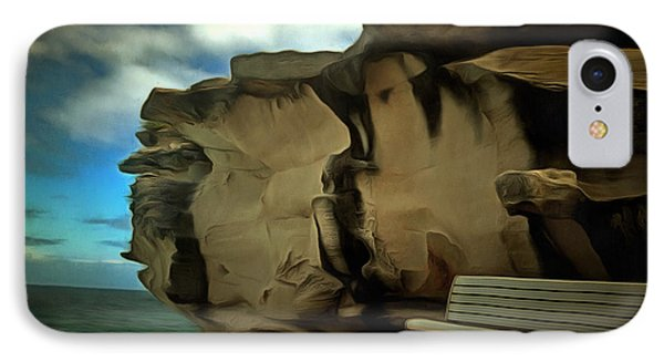 Bench And Huge Overhanging Rock IPhone Case by Ashish Agarwal