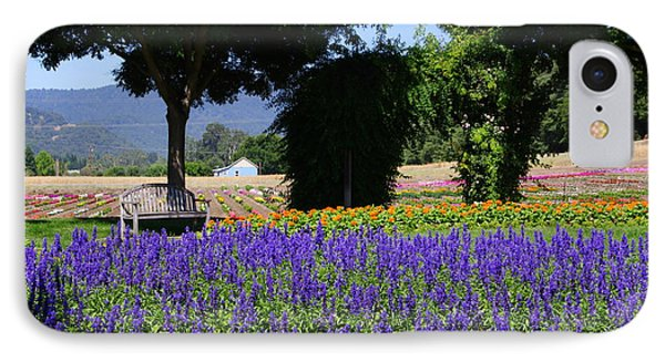 Bench In Flowers IPhone Case by Jeff Lowe