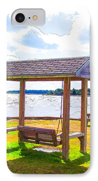 Bench In Nature By The Sea 1 IPhone Case by Lanjee Chee