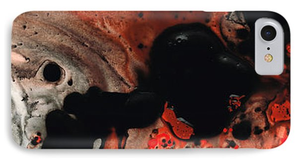 Beneath The Fire - Red And Black Painting Art Phone Case by Sharon Cummings