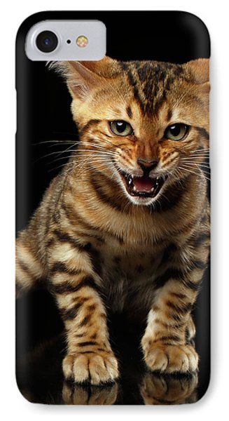 Bengal Kitty Stands And Hissing On Black IPhone Case by Sergey Taran