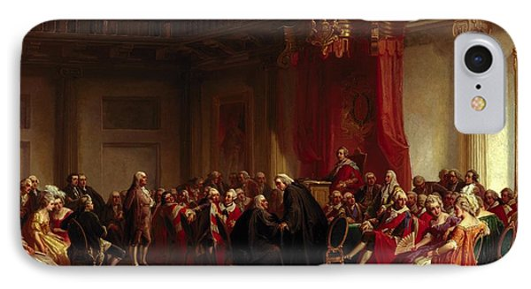 Benjamin Franklin Appearing Before The Privy Council  IPhone Case by Christian Schussele