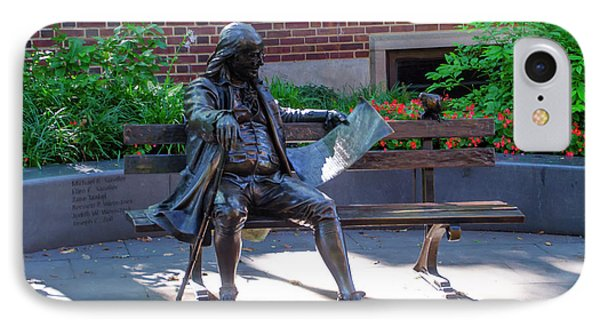 Benjamin Franklin On A Park Bench IPhone Case