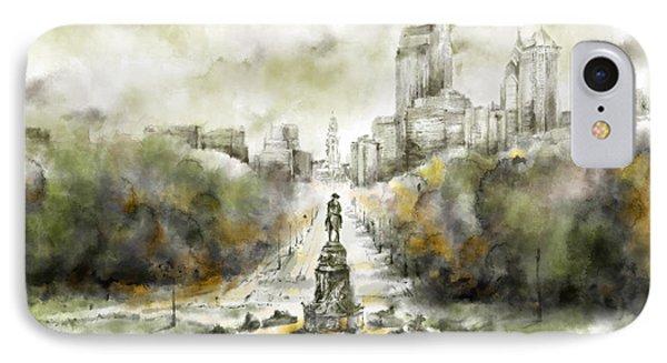 Benjamin Franklin Parkway Sepia IPhone Case by Bekim Art