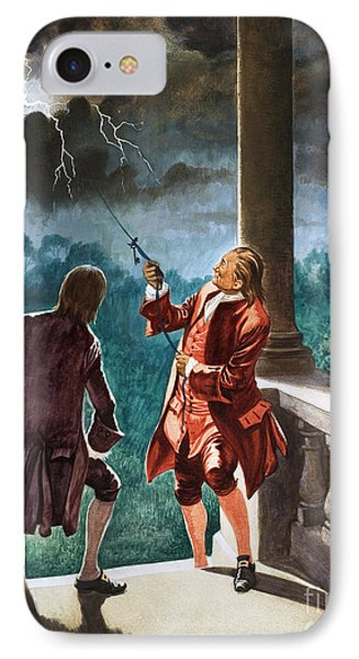 Benjamin Franklin Proves That Lightning Is Electricity IPhone Case by Peter Jackson