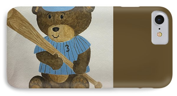 IPhone Case featuring the painting Benny Bear Baseball by Tamir Barkan