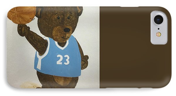 IPhone Case featuring the painting Benny Bear Basketball  by Tamir Barkan