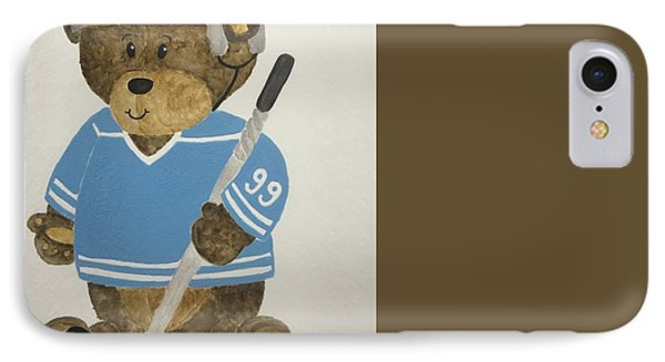 IPhone Case featuring the painting Benny Bear Hockey by Tamir Barkan