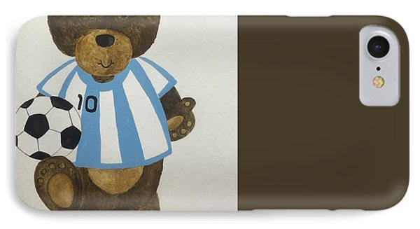 IPhone Case featuring the painting Benny Bear Soccer by Tamir Barkan