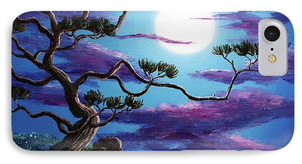 Bent Pine Tree At Moonrise IPhone Case by Laura Iverson