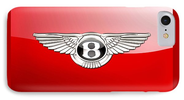 Bentley 3 D Badge On Red IPhone Case by Serge Averbukh