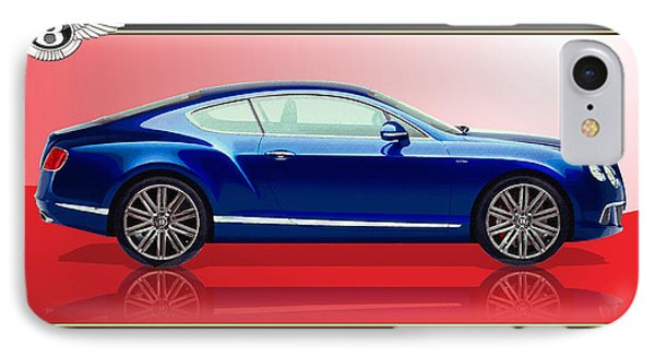 Bentley Continental Gt With 3d Badge IPhone Case by Serge Averbukh
