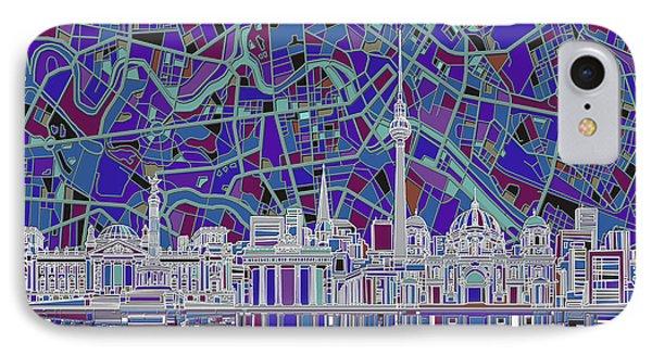 Berlin City Skyline Abstract 3 IPhone Case by Bekim Art