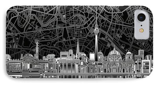 Berlin City Skyline Abstract 4 IPhone Case by Bekim Art
