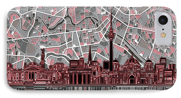 Berlin City Skyline Abstract IPhone Case by Bekim Art