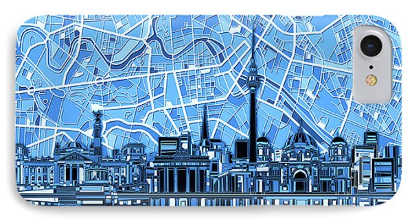 Berlin City Skyline Abstract Blue IPhone Case by Bekim Art