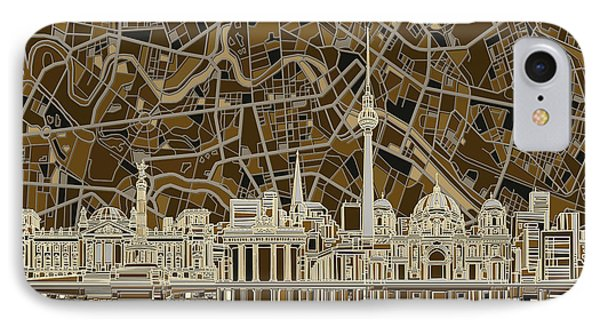 Berlin City Skyline Abstract Brown IPhone Case by Bekim Art