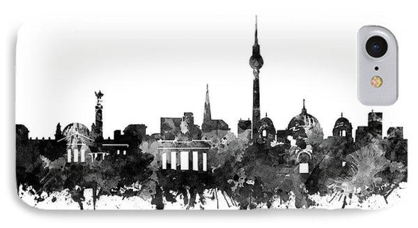 Berlin City Skyline Black And White IPhone Case by Bekim Art