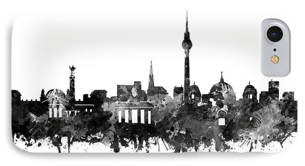 Berlin City Skyline Black And White IPhone Case