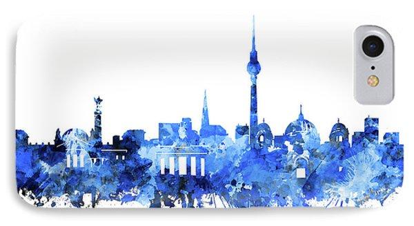 Berlin City Skyline Blue IPhone Case by Bekim Art