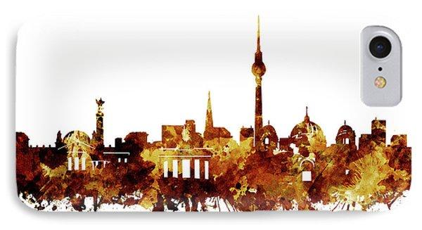 Berlin City Skyline Brown IPhone Case by Bekim Art