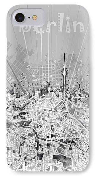 Berlin City Skyline Map 2 IPhone Case by Bekim Art