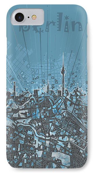 Berlin City Skyline Map 3 IPhone Case by Bekim Art