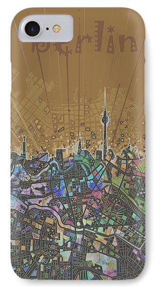 Berlin City Skyline Map 4 IPhone Case by Bekim Art
