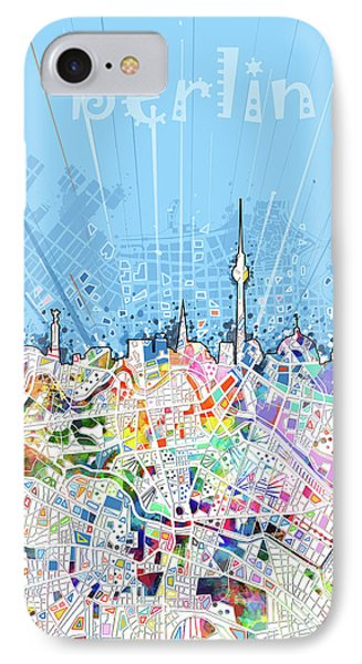 Berlin City Skyline Map IPhone Case by Bekim Art