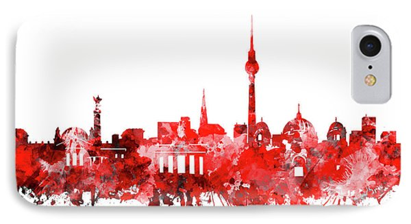 Berlin City Skyline Red IPhone Case by Bekim Art