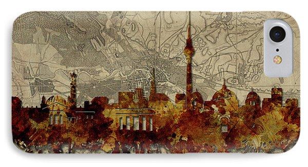 Berlin City Skyline Vintage IPhone Case by Bekim Art