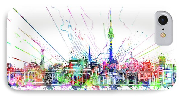 Berlin City Skyline Watercolor 2 IPhone Case by Bekim Art