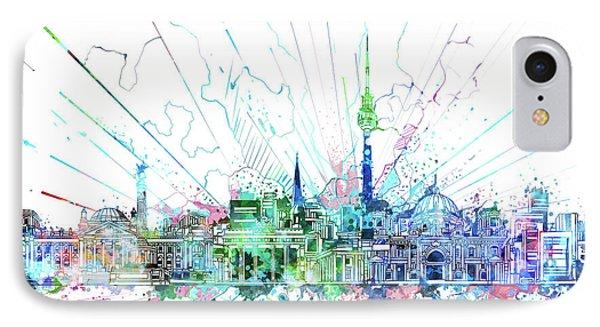 Berlin City Skyline Watercolor 3 IPhone Case by Bekim Art