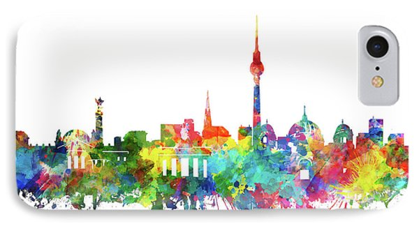 Berlin City Skyline Watercolor IPhone Case by Bekim Art