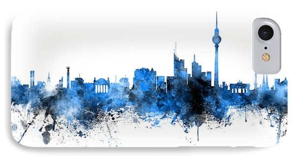 Berlin iPhone 7 Case - Berlin Germany Skyline Blue Signed by Michael Tompsett