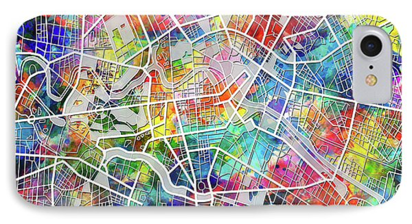 Berlin Map Watercolor IPhone Case by Bekim Art