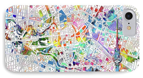 Berlin Map White IPhone Case by Bekim Art