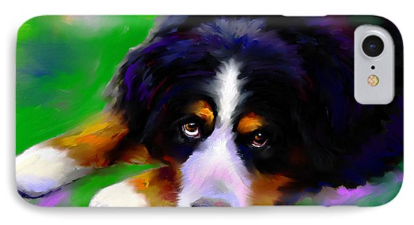 Bernese Mountain Dog Portrait Print IPhone Case