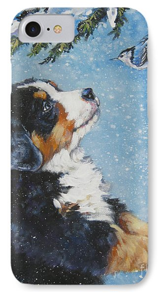bernese Mountain Dog puppy and nuthatch IPhone Case by Lee Ann Shepard