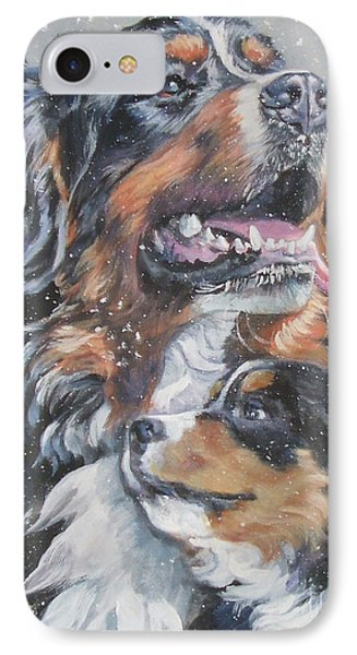 Bernese Mountain Dog With Pup Phone Case by Lee Ann Shepard