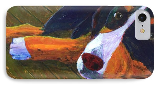 Bernese Mtn Dog On The Deck IPhone Case by Donald J Ryker III