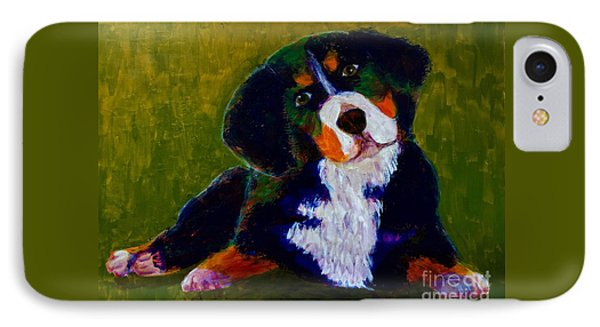 Bernese Mtn Dog Puppy IPhone Case by Donald J Ryker III