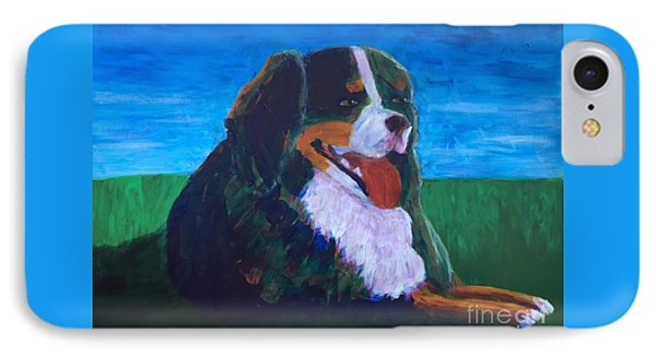 IPhone Case featuring the painting Bernese Mtn Dog Resting On The Grass by Donald J Ryker III