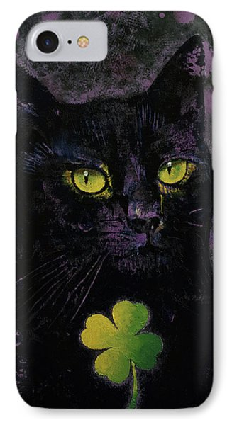 Lucky Black Cat IPhone Case by Michael Creese