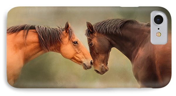 Best Friends - Two Horses IPhone Case by Michelle Wrighton