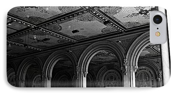 Bethesda Terrace Arcade In Central Park - Bw IPhone Case by James Aiken