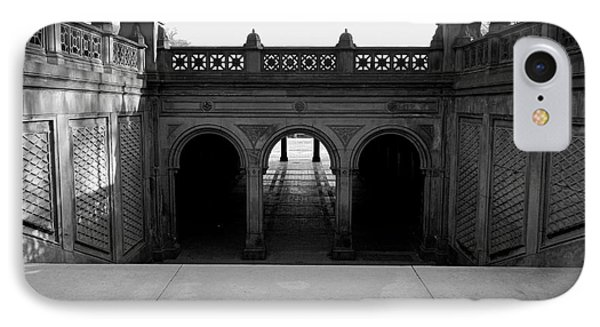 Bethesda Terrace In Central Park - Bw IPhone Case by James Aiken