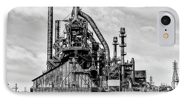 Bethlehem Pa Steel Plant  Side View In Black And White IPhone Case by Bill Cannon